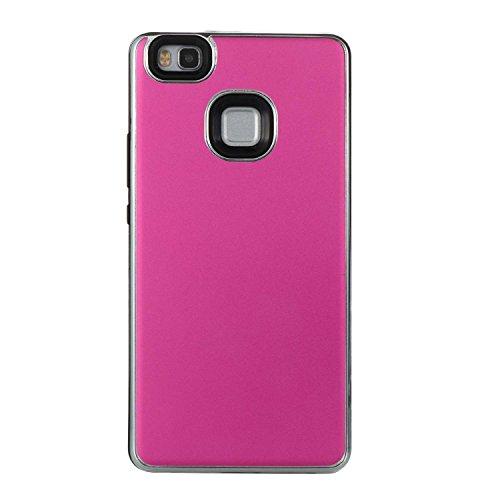 Cover Huawei P9 Lite, Alfort 2 in 1 Custodia Protettiva Placcatura Scrub Shell Alta Qualità Case PC + TPU Moda Semplice ( Nero ) 5,2 pollici Rosa rossa
