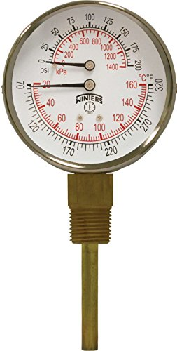 Winters TTD Series Steel Dual Scale Tridicator Thermometer with 2 Stem, 0-200psi/kpa, 3 Dial Display, 3-2-3% Accuracy, 1/2 NPT Bottom Mount, 70-320 Deg F/C by Winters