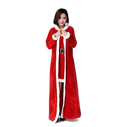 Women Es Christmas Red Cape Velvet Kapuzenschal Erwachsene Santa Fancy Kleid - Lady Santa Kleid Für Erwachsene Kostüm