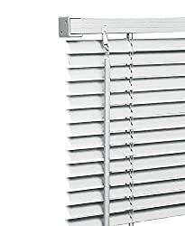 Ruby Deals PVC Window Venetian Blind Blinds Easy Fit Curtains Trimmable Fittings Windows Treatment Shutters Twist Open Close (White-PVC, 150cm wide (59'') x 150cm)