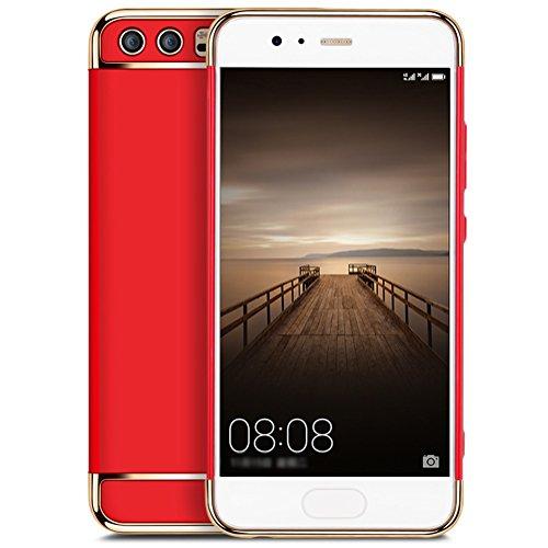 Coque Huawei P10 5,1 pouces, MSVII® 3-in-1 Design PC Coque Etui Housse Case et Protecteur écran Pour Huawei P10 5,1 pouces - Or rose JY50016 Rouge
