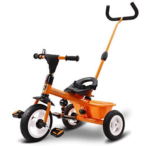 BLWX - Tricycle Vélo Bébé 1-3-5 Ans Enfant Auto-Enfant Poussette Slip Baby Artifact Wagon Léger Poussette (Couleur : Orange)
