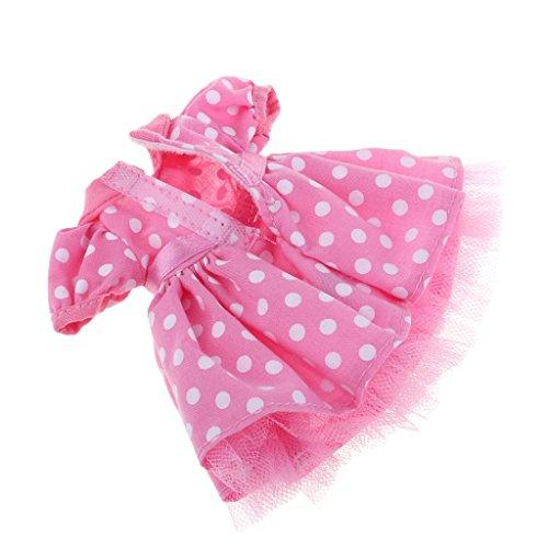 D DOLITY Elegante Puppe Kleid Abendkleid Prinzessin Kostüm für 1/6 Mädchen Puppe Dress up - Pfirsich (Dot Mini Rock Polka)