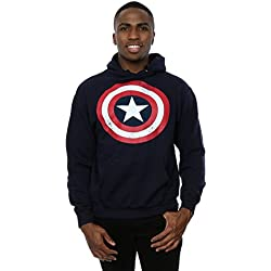 Marvel hombre Captain America Distressed Shield Capucha Medium Armada