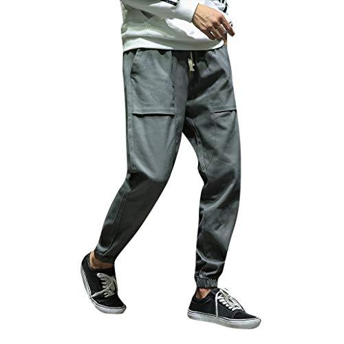 BHYDRY Sweat Pants Men Slim Fit Elasticated Waist Autumn Small Feet Sport  Loose Ninth Trousers ( fba83df984cf
