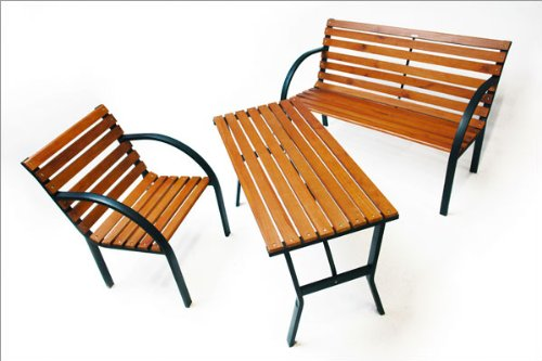 DEMA Parkbank Modern 122 cm Holz/Metall - 4