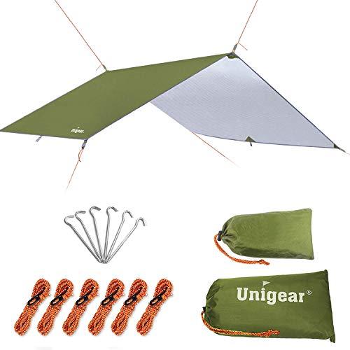 Unigear Zeltplane, Tarp für Hängematte, wasserdicht mit Ösen + 6 Erdnägel+ 6 Seilen, Regenschutz Sonnenschutz für Ourdoor Camping MEHRWEG (Grün-300 x 300cm)