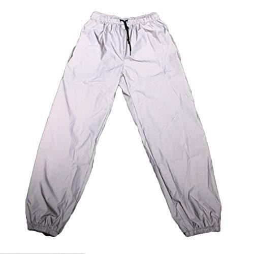Eghunooye Herren Damen 360 Reflective Leggings Hosen Quick Drying Sport Bekleidung Jogger Lauf Reflektierende Sporthose mit Tasche Atmungsaktiv Winddicht (Silber, L) -