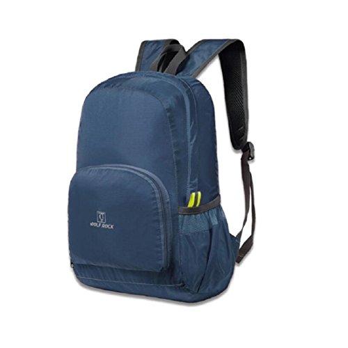 LF&F Backpack Camping outdoor Zaini Borse Zaino da viaggio esterno pieghevole leggero portatile impermeabile adatto per alpinismo campeggio ciclismo zaino multiuso Navy blue 25L Navy blue