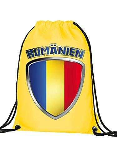 Rumänien 3329 Fussball Fanartikel Turnbeutel mit verstärkten Ecken und Metallösen Gelb
