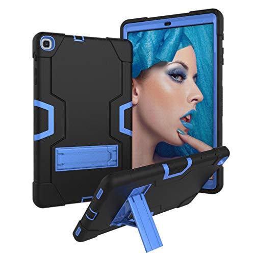Hülle für Samsung Galaxy Tab A, Amuse-MIUMIU Tablet Stand Rugged Cover Hartschalenetui Kratzfest Anti-Fall Silikon Schutzhülle für Samsung Galaxy Tab A 10.1 T510 T515 2019 (Schwarz-blau) (Gel-fällen Für Samsung-tablets)