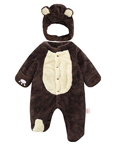 Kidsform Unisex Baby Langarm Winter Overalls Jumpsuit Playsuits Kleidungset mit Hüte Braun 12-18M