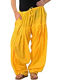 Women Cotton Solid Yellow Full Cotton Patiala Salwar