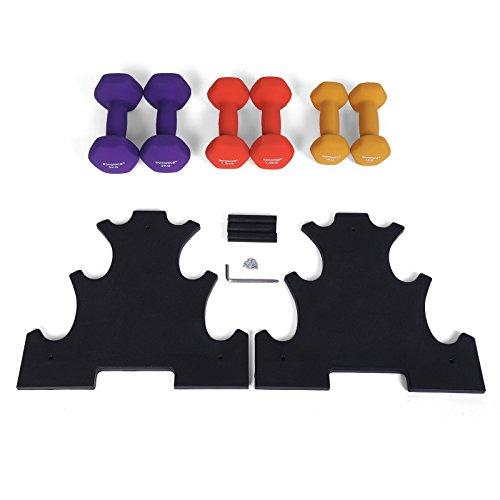 SONGMICS 3-Sets Hantel Set 1 kg, 1,5 kg, 2 kg Gymnastikhantel gratis Hantelständer in verschiedenen Gewichts- und Farbvarianten gegen Schweiß und Feuchtigkeit matt SYL69BK - 5
