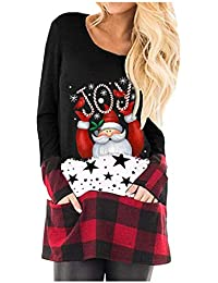 Mumustar Women's Christmas Tops T Shirt Plaid Splicing Pockets Elk Head Glitter Sequins Casual Tunic Long Sleeve Pullover Jumper Blouse Clothes