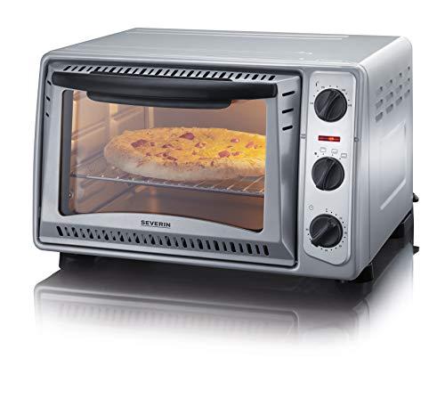 SEVERIN TO 2045 Back- und Toastofen, 43 cm, vielseitig einsetzbar für die Zubereitung von Pizza, Pommes, Braten oder Aufläufen, zum Backen von Kuchen/ Silber