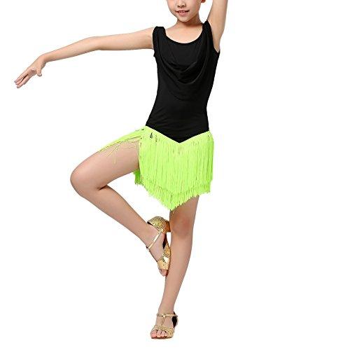 ESHOO Mädchen Tanzkleid, Kinder Quaste Kleid Latein Salsa Dancewear (Halloween Tanz Kleider)