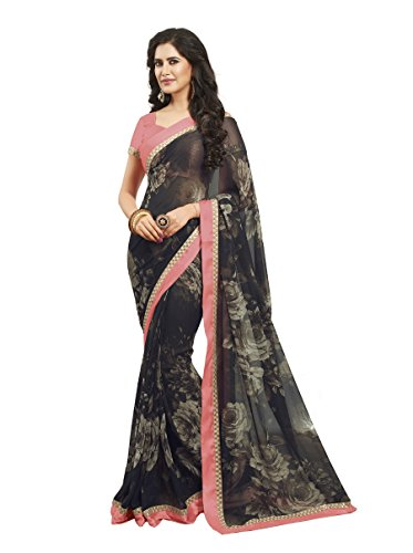 Oomph! Georgette Saree (Rbpf_2516_Coal Black & Charcoal & Rose)