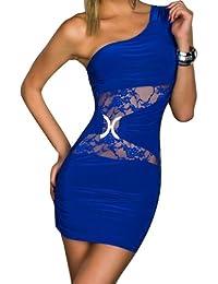 Blansdi sexy Clubwear Mini Slim Fit Soirée Cocktail manches une épaule creuse de lacet taille Asymétrie robe