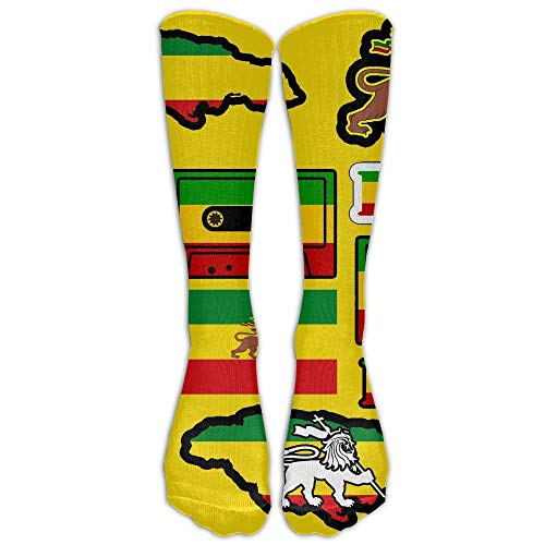 vcbndfcjnd Most Fashion Maker Old Flag of Ethiopia Lion of Judah Rastafarian Reggae Crown Outdoor Athletic Long High Sock Stocking - Flag Crown
