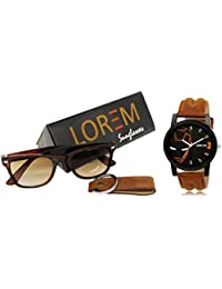 Lorem Branded Men's Analog Watch With Sunglasses & Keychain Combo For Men & Boys LR04
