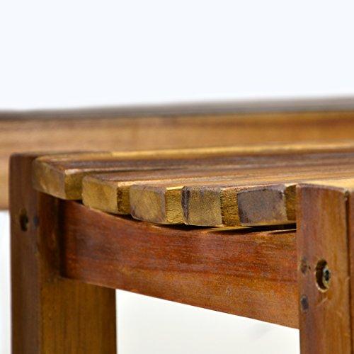 Divero Set 2 Bänke + 1 Tisch in Akazienholz - 5