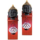 TiedRibbons Wall Hanging Lord Buddha Face Idol On Wall Shelf With Tealight Hanger | Buddha Decorative Idols | Showpieces For Home Decor | Home Warming | Decorative Items For Home Decoration | Christmas Home Decor