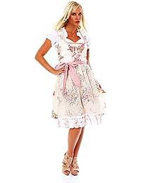 10594 Fashion4Young Damen Dirndl 3 tlg.Trachtenkleid Kleid Mini Bluse Schürze Trachten Oktoberfest