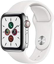 Apple Watch Series 5 (GPS+Cellular, 40 mm) Cassa in Acciaio Inossidabile e Cinturino Sport - Bianco