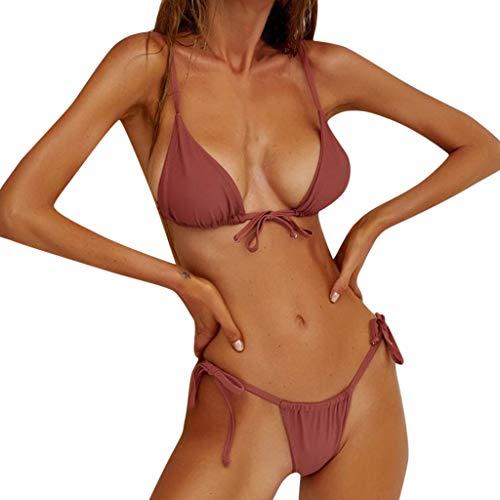 SCHOLIEBEN Bikini Damen Set Push Up Bandeau High Waist Sexy Oberteil Triangel Mollige Brazilian Retro String Tanga Thong Bade Badeanzug Bademode