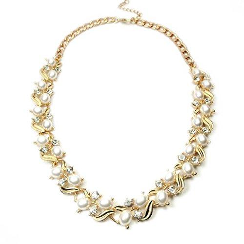 Mme Alliage De Perles De La Mode Européenne Et Américaine à Chaîne Courte Collier Clavicule white