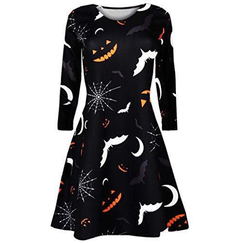 Halloween Carnival SHOBDW Damen Langarm Kürbisse Schädel Teufel Schläger Spinne Hexe Drucken Drucken Halloween Abend Prom Kostüm Swing Kleid