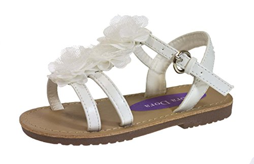 Lora Dora , Bride de cheville Fille Blanc - White with Chiffon Flower