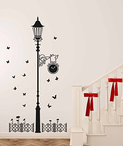 Decals Design 'Black Antique Street Lamp with Butterflies' Wall Sticker (PVC Vinyl,...