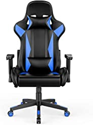 BIFMA Certified Gaming Chair Racing Style Office Chair - with Removable Headrest and High Back Cushion - blue