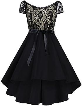 iShine Übergröße Kleid Damen Knielang V-Ausschnitt Rockabilly Kleid mit Spitze Faltenrock Partykleid Cocktailkleid...