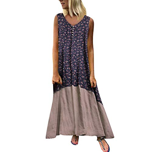 Sommer Elegant Große Größen Lang Strandkleid Lose Ärmellos Baumwolle und Leinen Drucken Nähen Dresses for Women ()