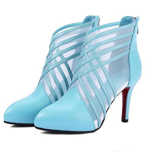 W&LM Signorina Tacchi alti sandali vera pelle sandali Trasparente Sandali di filati netti Chiusura lampo dopo Tacchi alti Blue