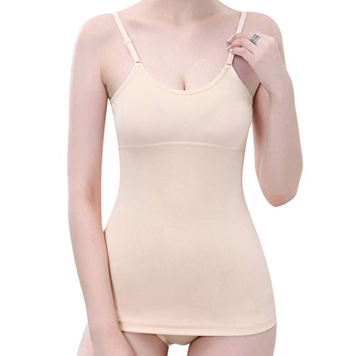 Fajas Reductoras Adelgazantes Camisetas Moldeadora Body Reductor Compresión Ropa Interior para Mujer (Beige, S/Tamaño de la cintura 66-70CM)