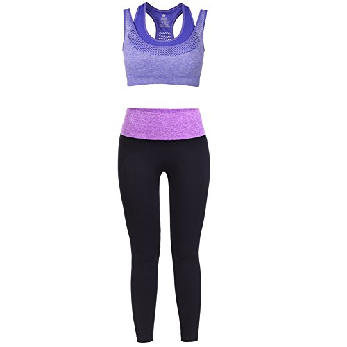 Vbiger Sports Bra Yoga Clothing Set Sport Suits, Racerback & Pants Gym Outfits for Women(Purple M)