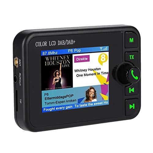 ASHATA Auto Dab Radio, 2,4 Pollici LCD Portatile Autoradio Dab Vivavoce Bluetooth, Sintonizzatore Radio Digitale Dab Auto 170-240 MHz con Trasmettitore M Antenna,Supporto chiamate Vivavo