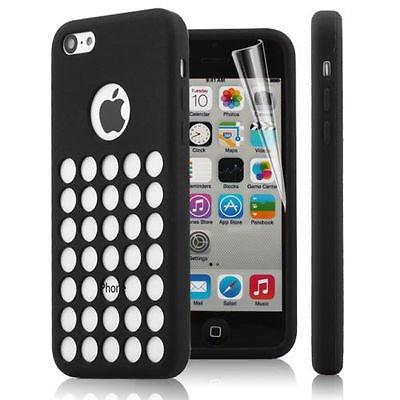 2010KHARDIO AE BLACK TPU SILICONE BACK CASE COVER FOR NEW APPLE iPHONE 5C RETRO DOTS HOLE