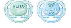 Philips Avent ultra air Schnuller 0-6 Monate SCF342/20, Doppelpack, Jungen, Igel/Hello-Schriftzug
