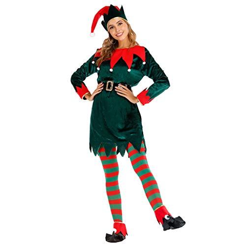 EraSpooky Damen Weihnachten Elfe Kostüm Faschingskostüme mit Hut Strumpf Überschuh Gürtel Cosplay Party Karneval Fastnacht Kleid für Erwachsene