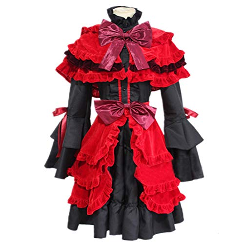 YKJ Anime Charakter roten schal schwarzen Kleid Anime Cosplay Halloween Party kostüm komplett,Suit-M