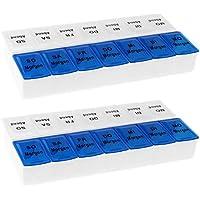 Preisvergleich für 2x WELLGRO® Tablettenbox für 7 Tage - je 2 Fächer pro Tag, 18,5 x 9,5 x 3,5 cm (LxBxH) - Farbe wählbar, Farbe:...