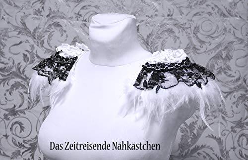 Epauletten, Schulterstück, Schulterschmuck mit Federn und Perlenborte, Gothic, Vampir, Steampunk, schwarz-weiß