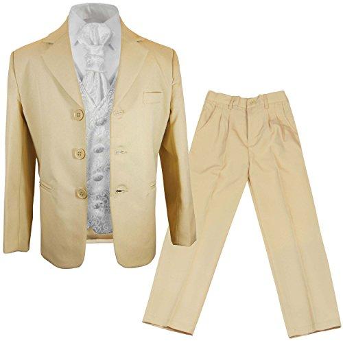 Paul Malone - Jungen Anzug/Kinder Anzug festlich beige + weiß barockes Westen Set mit Plastron