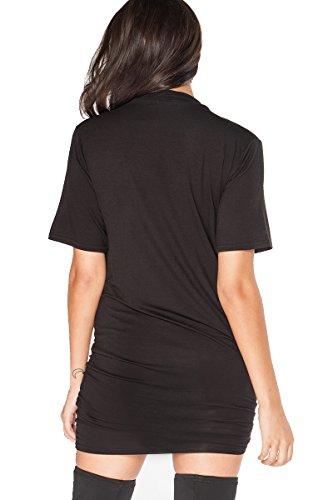 Damen King of The Road Ride Till We Die Bedruckt Halsband Hals T-Shirt Minikleid Black - Live Fast