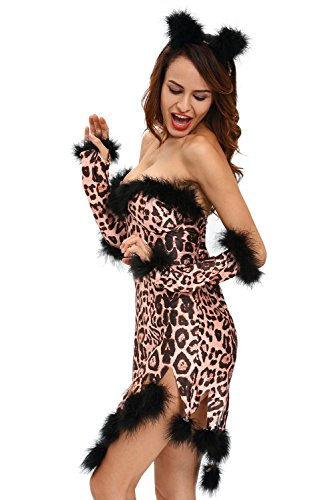 es flauschig Leopard Tier Cosplay Fancy Dress Hen Night Halloween Party Größe S UK 12 EU 40 (40 S Halloween-kostüme Uk)